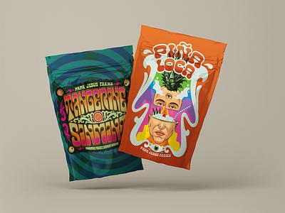 PJF Strains Artwork cannabis design strain art graphic design packaging design packaging cannabis surrealism psychedelic design illustration retro vintage