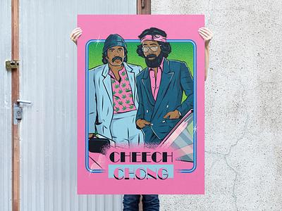 Cheech & Chong X Miami Vice eighties vector kitsch tacky illustration funny fun vintage retro miami vice cheech and chong