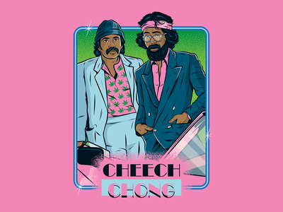 Cheech & Chong X Miami Vice eighties vector kitsch tacky illustration funny fun vintage retro miami vice cheech and chong