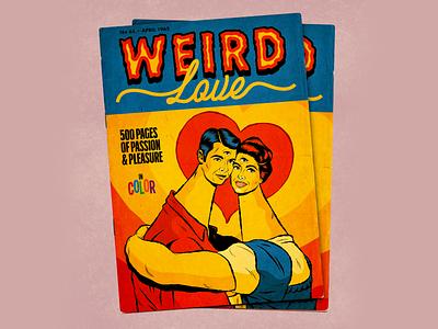 Weird Love comic book romance magazine love surrealism psychedelic art retro vintage illustration vector