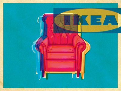 Chair interior design furniture color popart art surrealism psychedelic design illustration retro vintage vector