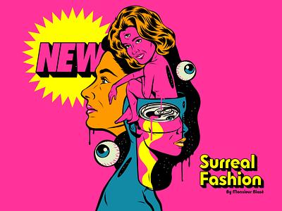 New Surreal Fashion nonsense fashion art surrealism psychedelic design illustration retro vintage vector