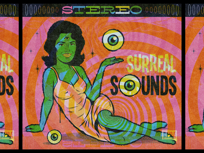 Surreal Sounds Vintage Album Cover weird music vintage album cover album cover design art surrealism psychedelic illustration retro vintage vector