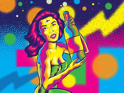 Girl with bottle trippy surrealism design illustration psychedelic color retro vintage woman