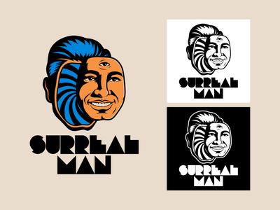 Surreal Man Logotype branding logo design illustration retro vintage typography lettering vector surrealism graphic design surreal