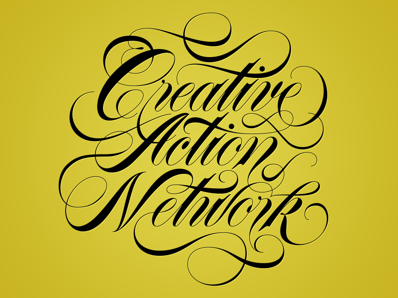 Creative Action Network script typography spencerian lettering