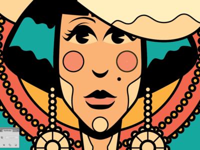 Flapper art deco art face female woman illustration vintage retro flapper