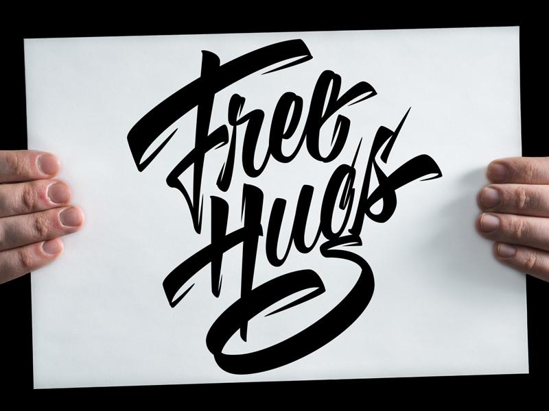 Free Hugs sign hug casual script brush calligraphy brushpen vector lettering typography