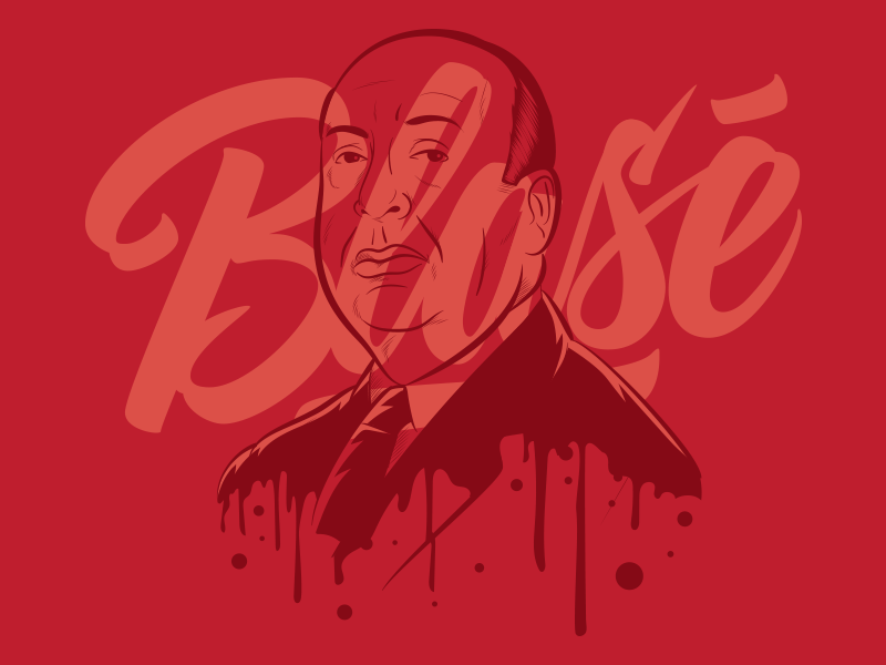 Hitchcock Blasé hollywood psycho alfred hitchcock lettering type retro vintage illustration vector typography