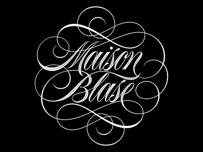 Maison Blasé Flourished Script logotype logo branding type design script spencerian flourish vector lettering typography