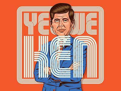 Yes We KEN jfk kennedy president america usa surrealism logo branding art design illustration type vintage retro lettering typography vector