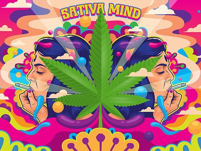 Sativa Mind Poster cannabis psychedelic poster design illustration vector
