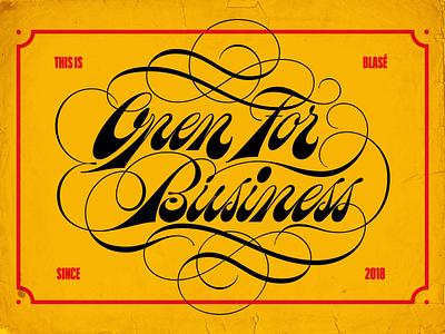 Open for Business spencerian flourish script design type vintage retro lettering typography vector