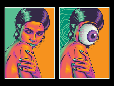Before / After body figurative woman lowbrowart art surrealism psychedelic illustration vector