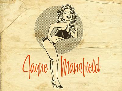 Jayne Mansfield fifties cartoon art design illustration vintage retro vector