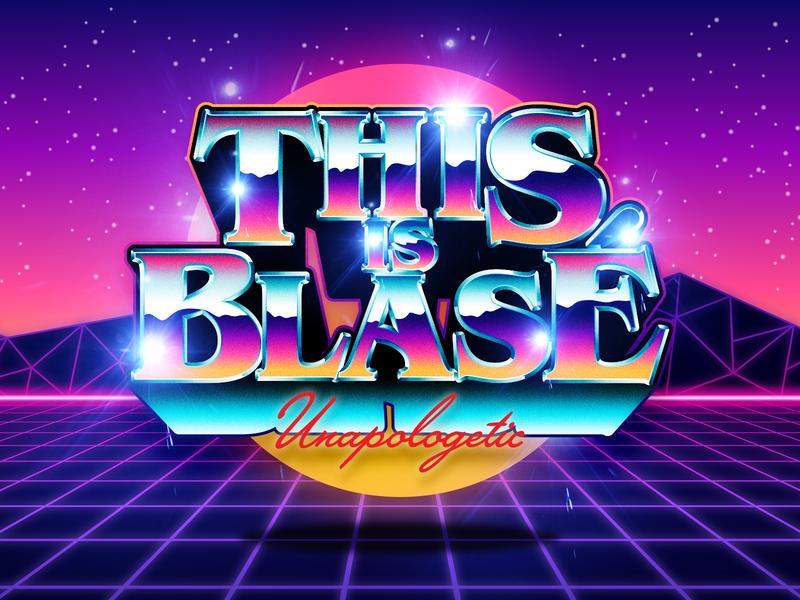 Blase 80s Chrome eighties chrome psychedelic art logo design illustration type vintage typography vector