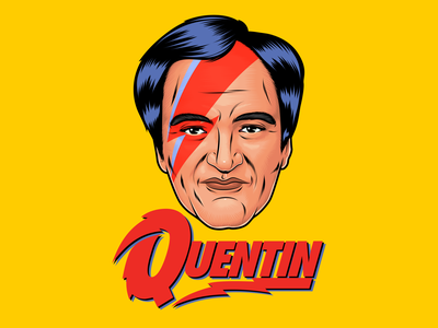 Quentin Stardust parody fun hollywood celebrity cinema movie quentin tarantino art psychedelic design typography lettering illustration vector