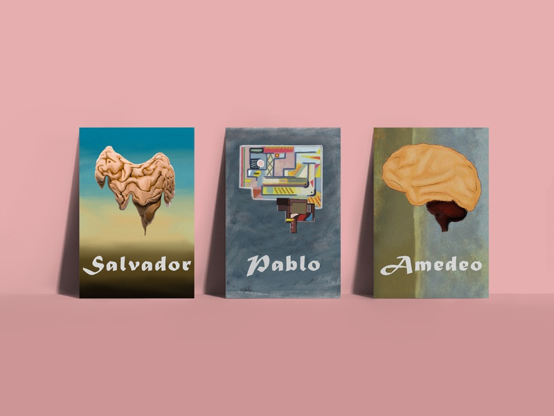 Brains poster posters poster design artwork art sandro jalabadze sandro salvador dali modigliani picasso artist digitalart illustrations brains brain