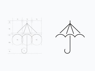 Umbrella Icon lineart line sandro white black minimalart art minimalistic graphic design logocreation vector design logodesign icondesign umbrella logo icon