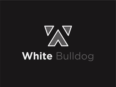 White Bulldog negative space minimalistic w black dog logo dog bulldog white logocreation vector design logodesign logo