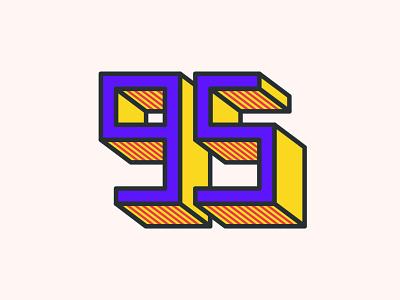 95 illustration vector yellow red violet sandro minimal miniillustration design flat minimalistic 5 9 number digits numbers graphic design 95