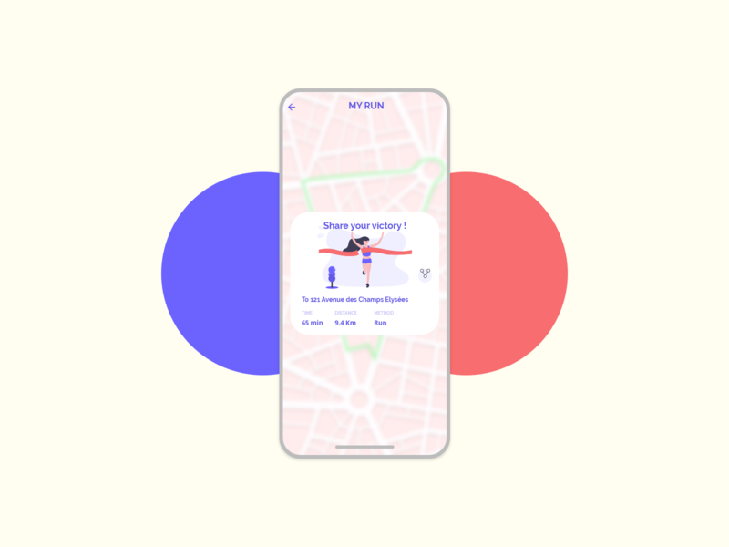 My Run - #DailyUI010 red blue experiencedesign experience iphone icon app flat adobexd adobe undraw ux illustration share button share design ui minimal dailyui daily 100 challenge