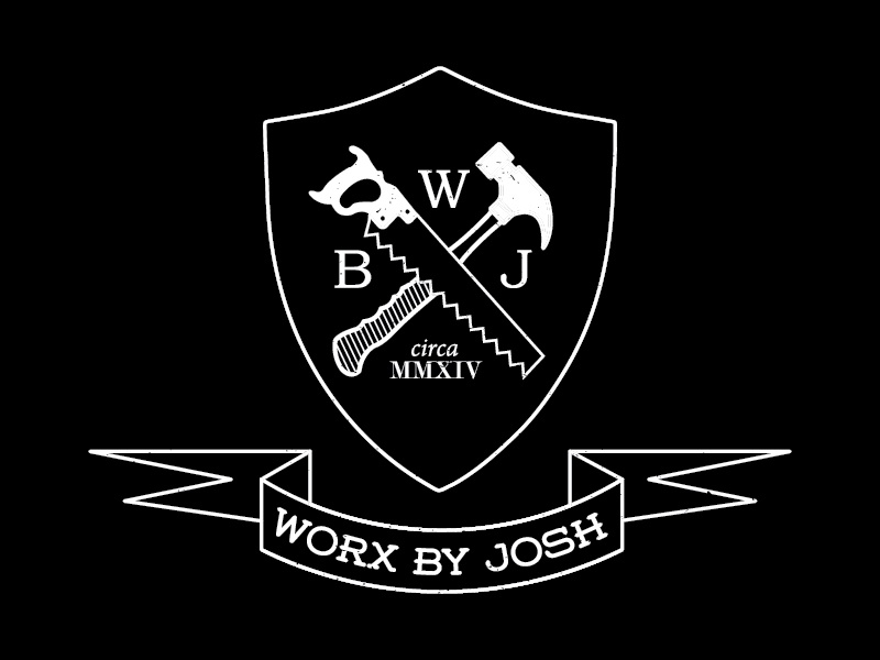 Worx by Josh Logo logo wood hammer carpentry banner shield hand saw typography