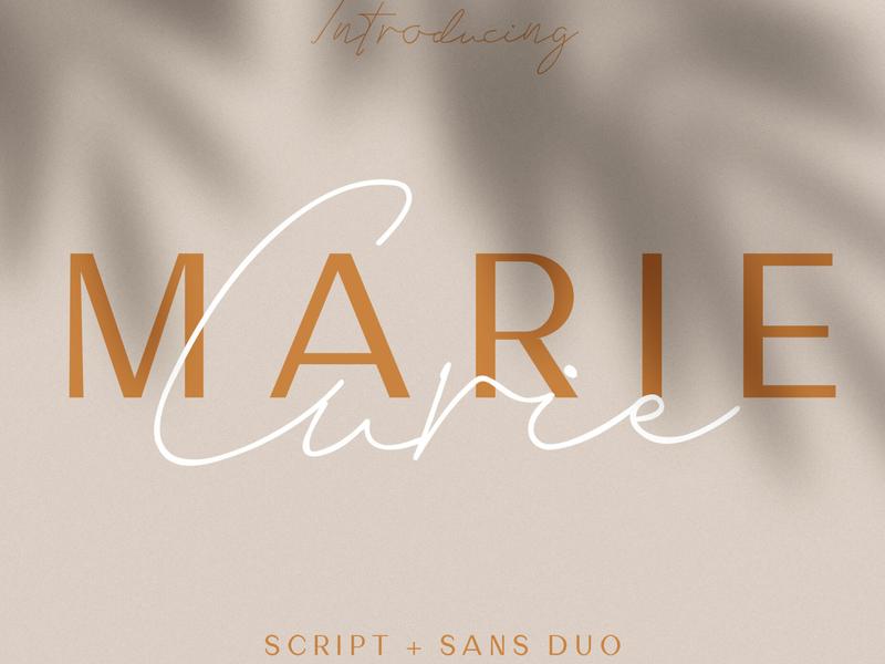 Marie Curie - Sans & Script typeface type lettering logo design font duo logo fonts modern fonts elegant fonts serif fonts font design fonts collection sans serif font sans serif branding serif font sans font script font script sans