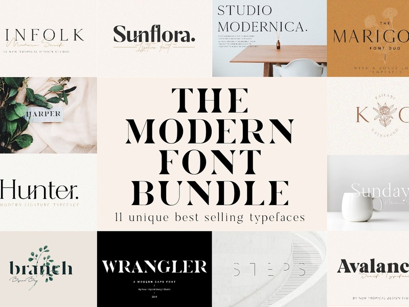 The Chic & Unique Modern Font Bundle calligraphy fonts bold poster advertising feminine font design bold fonts sans serif modern fonts chic fonts chic font modern font bundle fonts collection font pack font bundles unique font bundle font modern chic