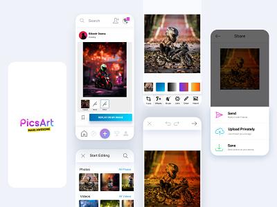 Pics Art Mobile App Design logo branding vector illustrator illustration high resolution dribbble beginners design photoshop