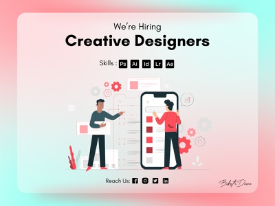 Hiring Post Design web vector dribbble hiring glassy figmadesign figma illustration design ui photoshop