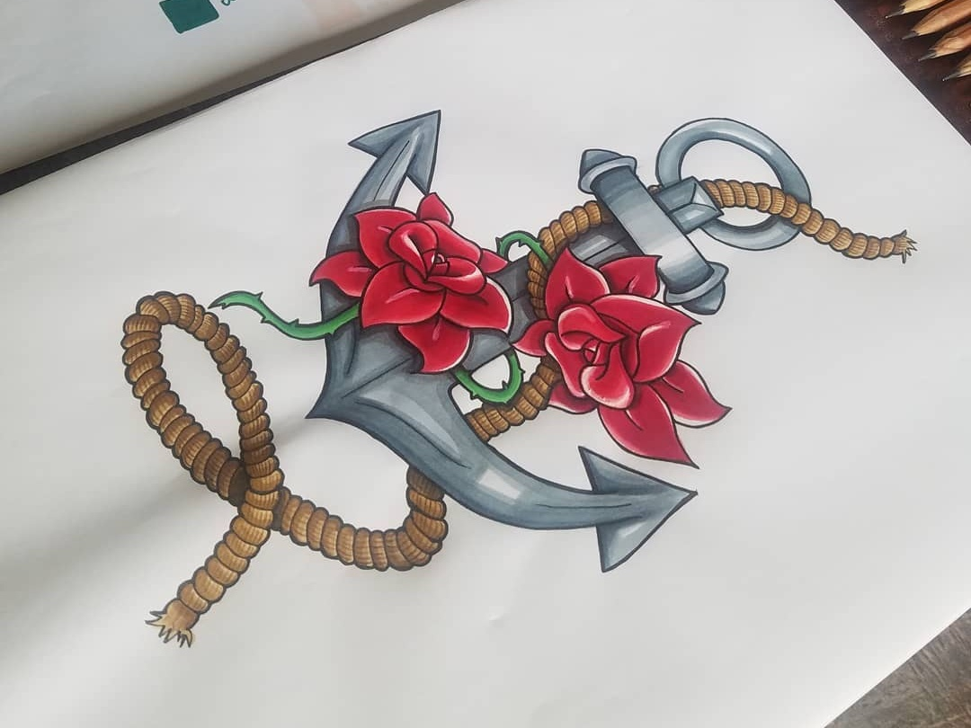 Dessin old school ancre marine et roses tatoo illustration graphiste colorisation roses ancre tatoo dessin
