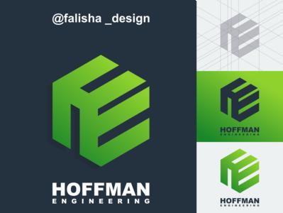 he logo symbol box triangels circle monogram eh he initials hexagon 3d abstract vector logo icon flat design branding