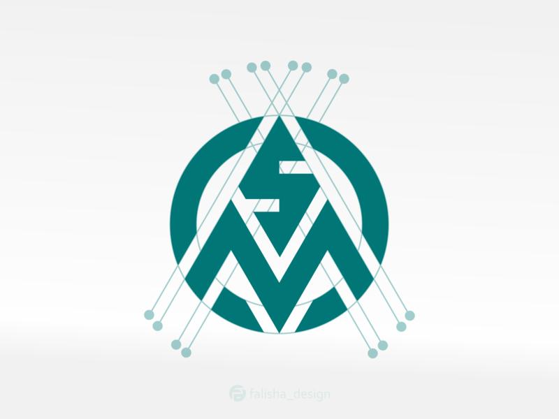 sm monogram company logoawesome awesome symbol brand design initials m s ms sm 3d monogram illustration abstract vector logo icon flat design branding