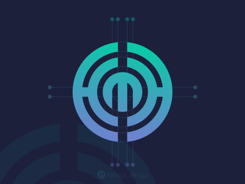 hmh monogram initial symbol company brand identity awesome hm hh hmh circle 3d monogram illustration abstract vector logo icon flat design branding