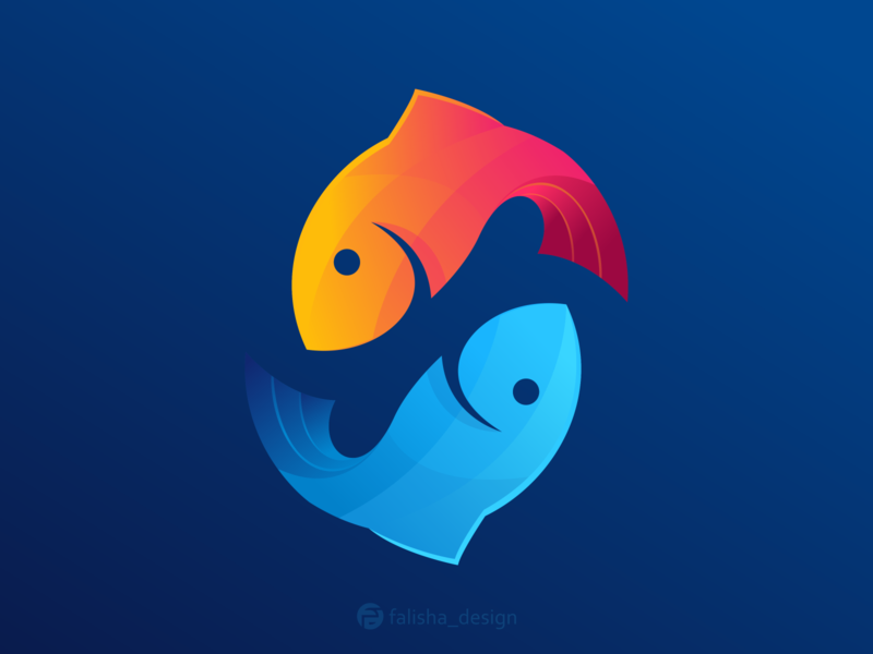 fish logo clothing simple symbol colorful company brand identity awesome water fish circle 3d monogram illustration abstract vector logo icon flat design branding