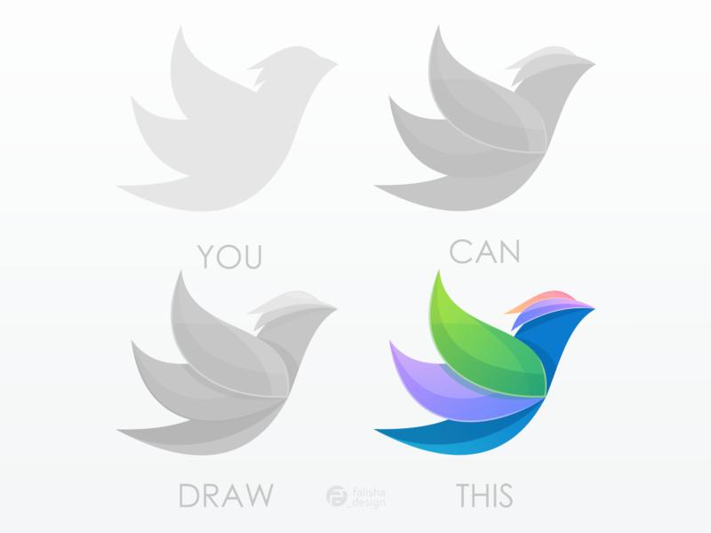 bird logo sketch character birds company symbol brand identity awesome animal colorful bird 3d monogram illustration abstract vector logo icon flat design branding