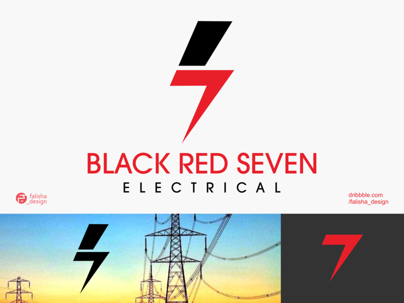 black red seven electrical logo inspiration company brand identity awesome logoinspiration electrical logo electrical 7 seven red black 3d monogram illustration abstract vector logo icon flat design branding