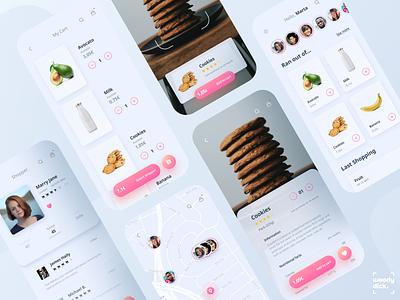 Social Shopping App UI Design map food app supermarket delivery app delivery social app ecommerce app ecommerce scanner scan user experience uxdesign ux uiux ui  ux uidesign mobileapp mobile appdesign app