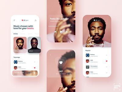 Music Beats bpm heartbeat heart uxdesign mobile app uiux uidesign mobileapp music player music app music mobile ui design appdesign app