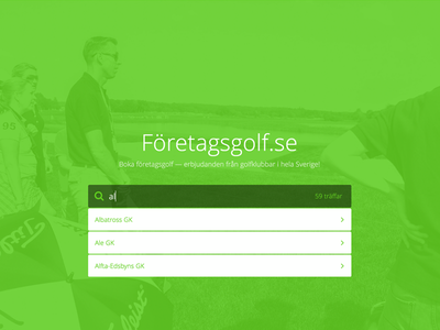 New Landing Page + Search golf search search result flat