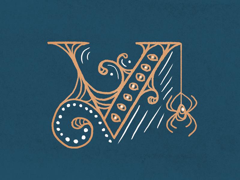 #Typehue Week 22: V spooky illustration letter villainous villain spider lettering typography v
