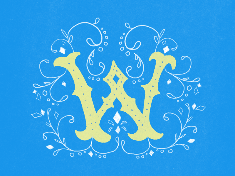 #Typehue Week 23: W typography illustration lettering floral wild yellow blue challenge w