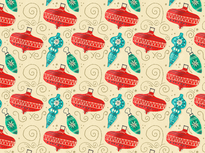 Holly Jolly Baubles Pattern rebound illustration typehue wrapping paper ornaments holiday christmas