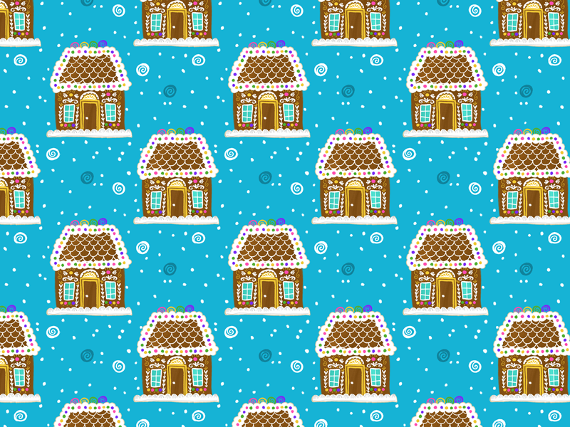 Sweet Gingerbread Pattern winter gingerbread illustration typehue wrapping paper holiday christmas
