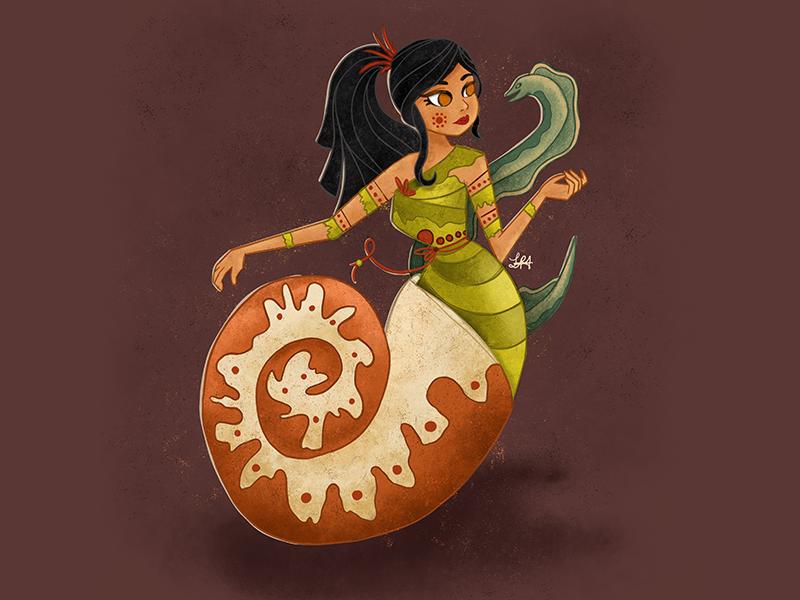 Prehistoric Mermaid eel nautilus prehistoric mermay mermaid illustration