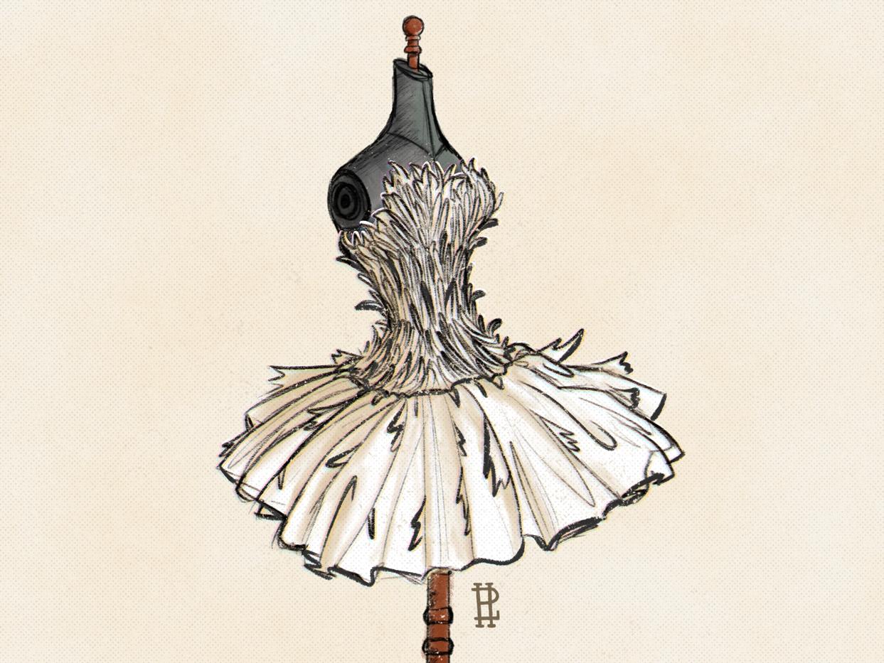 Chicken illustration inktober 2018 ballerina dress fashion chicken
