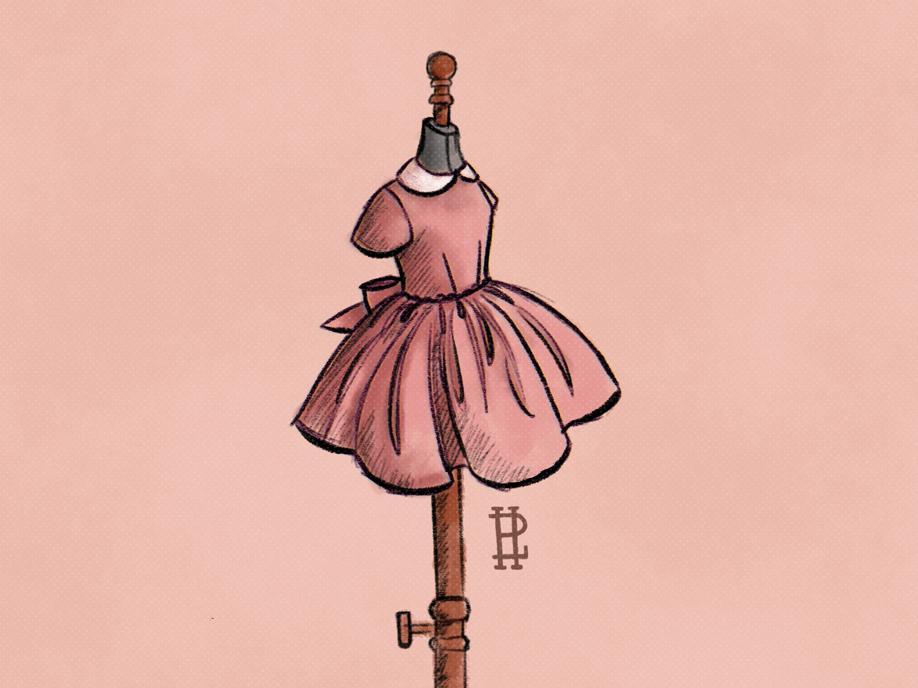 Precious precious illustration fashion dress inktober 2018