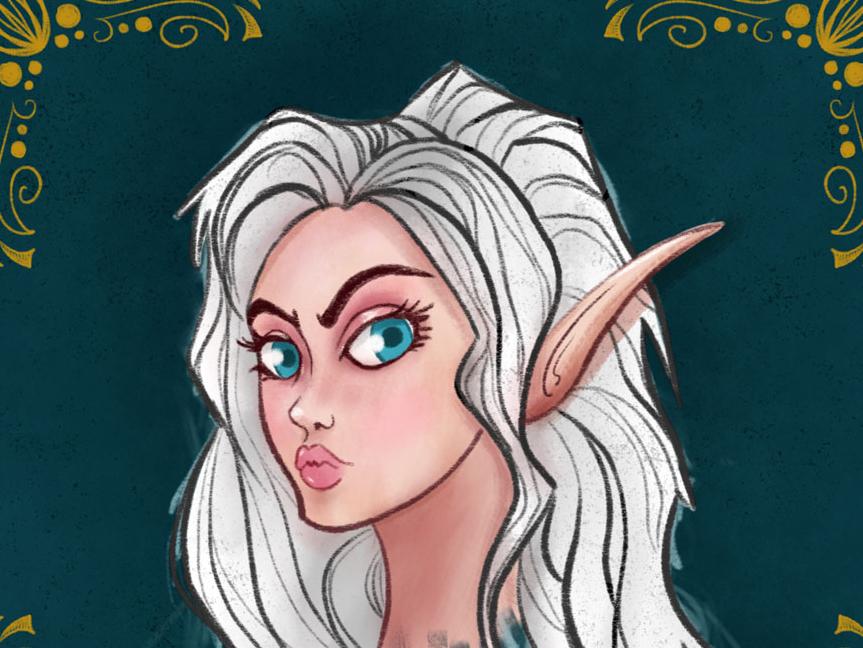 Rhea'Illia elf dnd character art character illustration