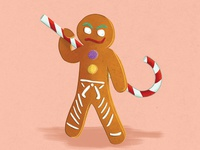 Gingy candy cane candy illustration holidays cookie christmas gingerbread man gingerbread
